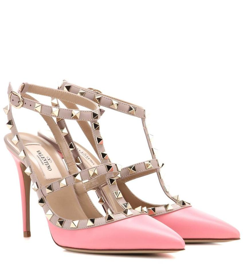 720b3c244d3b Valentino Pink Classic Rockstud Embellished Matte Leather 100mm ...