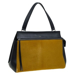 Céline Trapezium Calf Hair Leather Tote in Black/Yellow