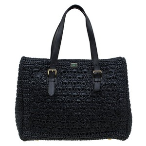 Dolce&Gabbana Crochet Leather Leopard Tote in Black