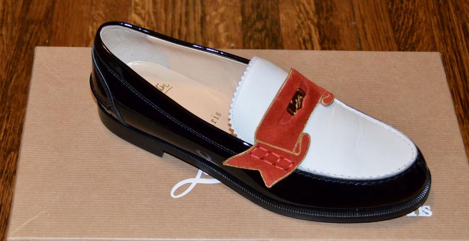 135b6092bea Christian Louboutin Black Monana White Patent Leather Penny Loafer Flats  Size EU 36.5 (Approx. US 6.5) Regular (M, B) 60% off retail
