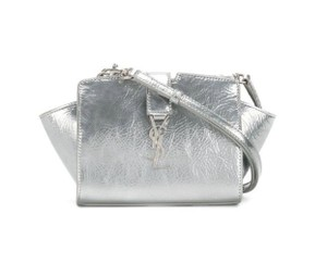 Saint Laurent Toy Silver Cabas Cross Body Bag