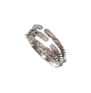 David Yurman New DAVID YURMAN Sterling Silver Willow Three Row Diamond Ring, Size 7