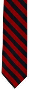 Façonnable FACONNABLE NAVY/RED DIAGONAL STRIPES PRINT SILK TIE