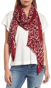 Kate Spade Red Inked Texture Deep Cherry Twill Scarf
