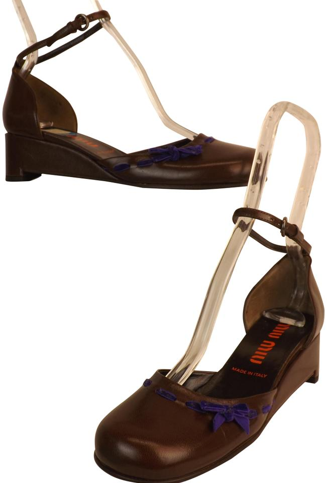 f20941438092 Miu Miu Brown New Chocolate Leather Mary Jane Bow Wedge Italy Sandals