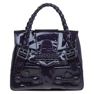 Valentino Patent Leather Glossy Braided Satchel in Purple