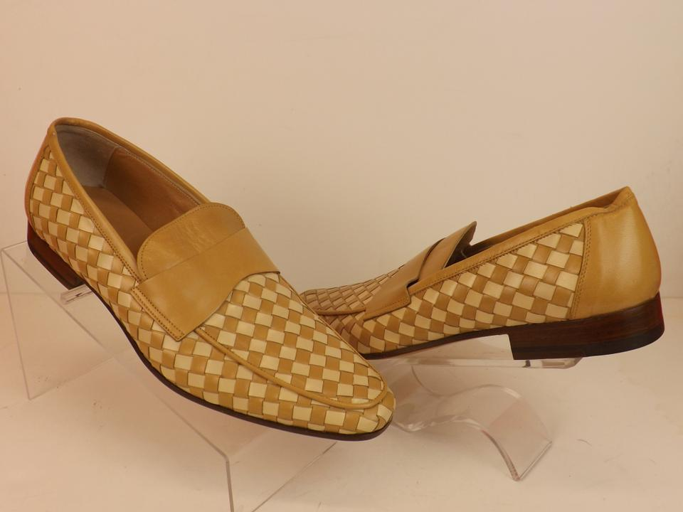 3eb27aeee7f0 Miu Miu Beige Two Tone Woven Leather Penny Loafers 7 Us 8 Italy Shoes