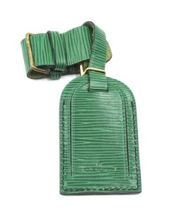 Louis Vuitton RARE green epi Leather Luggage Tag with loop keepall alma speedy