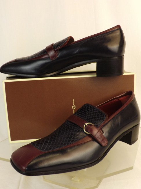 Item - Blue Dark Navy Wine Snake Print Leather Loafers 6.5 Us 7.5 Italy Shoes