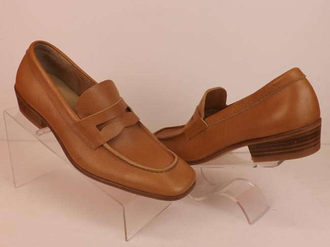 Item - Brown Light Leather Slip On Penny Loafers 6.5 Us 7.5 Italy Shoes
