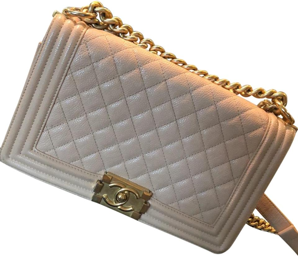 a8203121a0eb19 Boy Chanel Handbag Beige/Gold Calfskin Leather Cross Body Bag - Tradesy