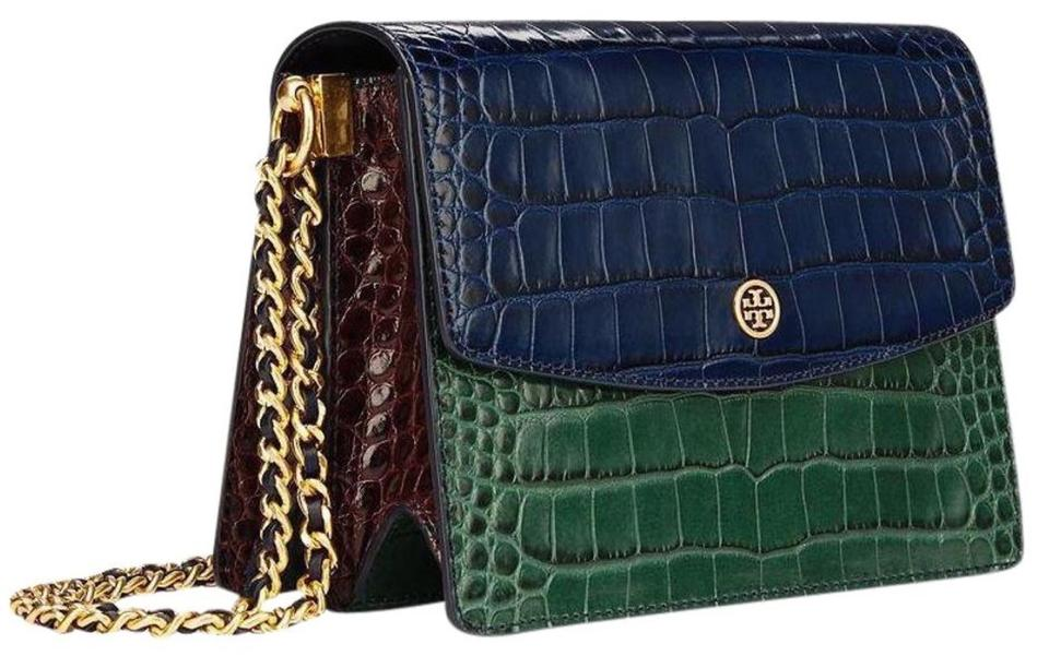 13d6ae7b2 Tory Burch Parker Embossed Convertible Shoulder Blue Leather Cross Body Bag