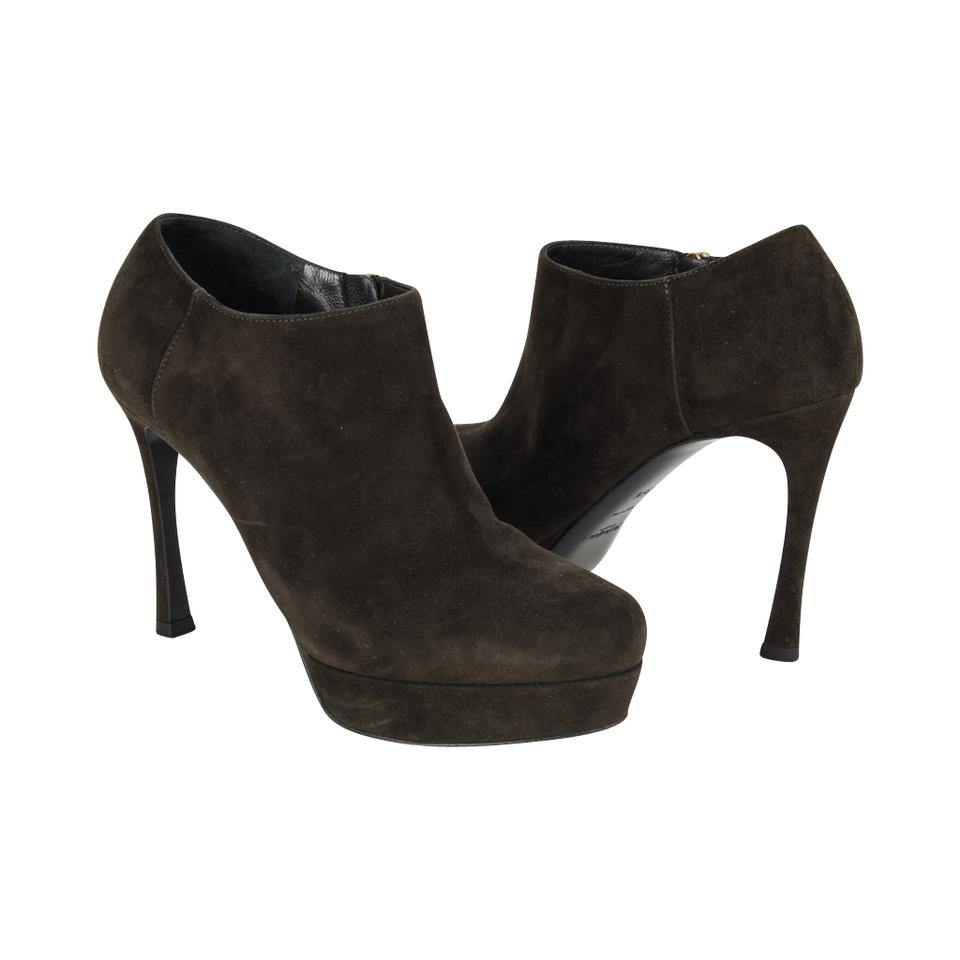 5513fa7ed1e Saint Laurent Green Ysl Dark Suede Ankle Yves / 6.5 Boots/Booties ...