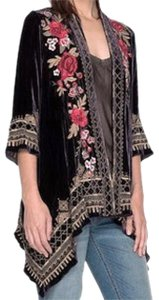 Johnny Was Bold Embroidery Soft Velvet Open Front A Line Silhouette Flattering Fit Cardigan