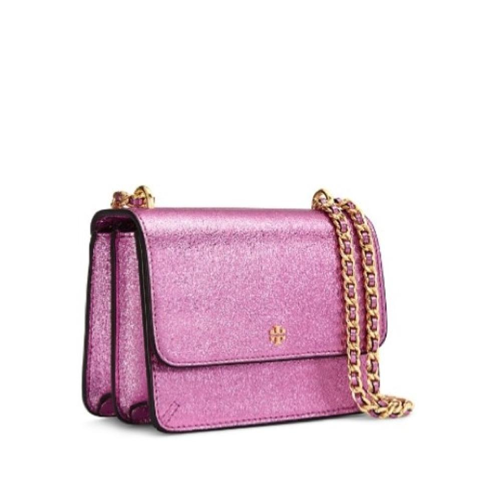 c62a0d6378597 Tory Burch Metallic Mini Crinkle Pink Leather Shoulder Bag - Tradesy