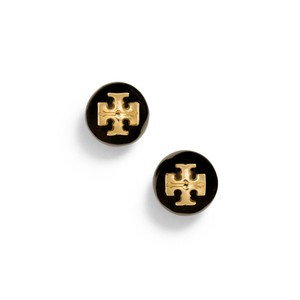 Tory Burch New Tory Burch Crystal Evie Pearl Studs Black with Gold Logo