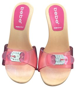 bebe Slides Stiletto Crystals Buckle Pink Mules