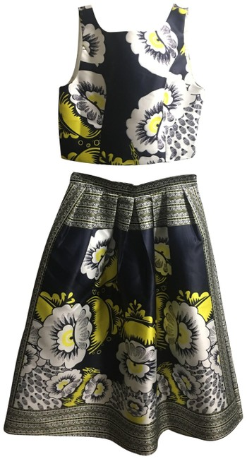 Item - Blue White Yellow Two Piece Mid-length Cocktail Dress Size 8 (M)