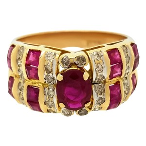 Other OVAL RUBY RING WITH DIAMONDS 18K YELLOW GOLD