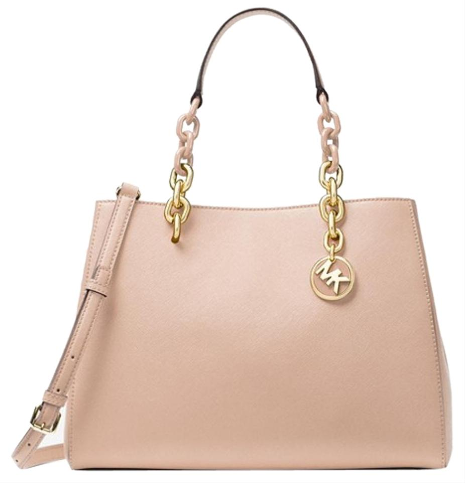 b39aed2b9d4a18 Michael Kors Cynthia Chain Handle Saffiano Pink Leather Tote - Tradesy