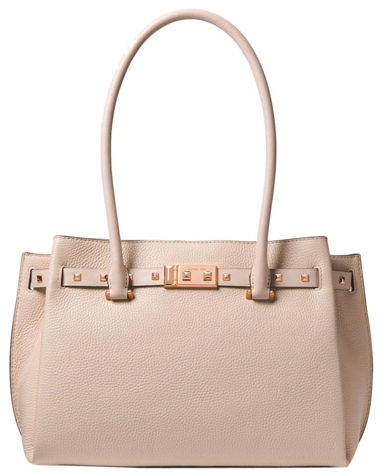 7169952fd4d760 Michael Kors Addison Medium Pebbled with Rose Gold Hardware Pink Leather  Tote