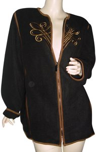 Bob Mackie Gold Scroll Gold Embroider Baroque Embroidery Trim Designer black, brown Jacket