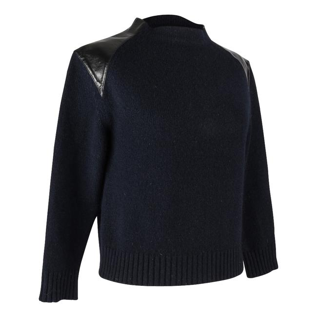 Item - Crew with Black Leather Shoulders M Navy Blue Sweater