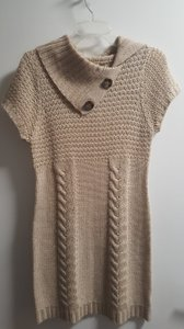Pink Rose short dress Tan Sweater on Tradesy