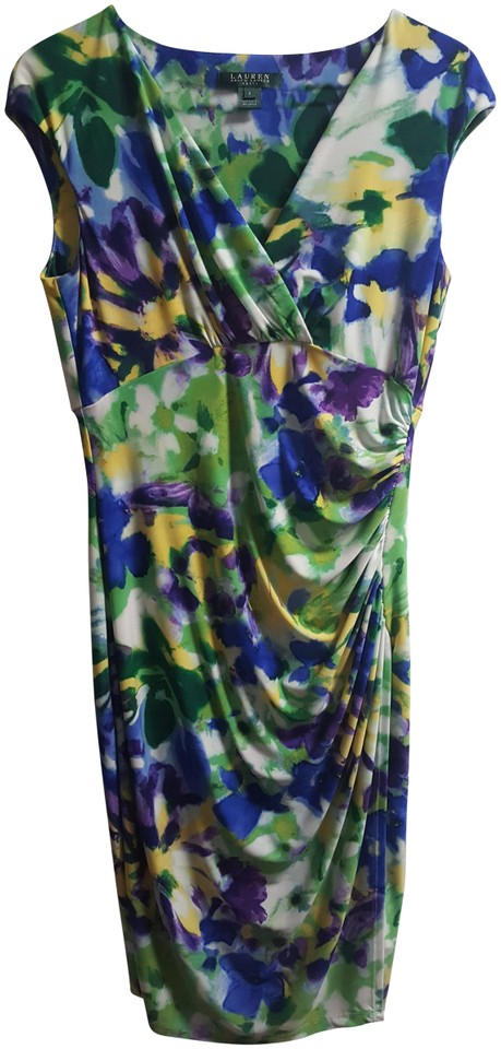 6b5dfca401ef3 Ralph Lauren Multi- Blue Purple. Yellow and Green Floral Work Short Casual  Dress