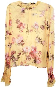 The Kooples Silk Floral Top Yellow
