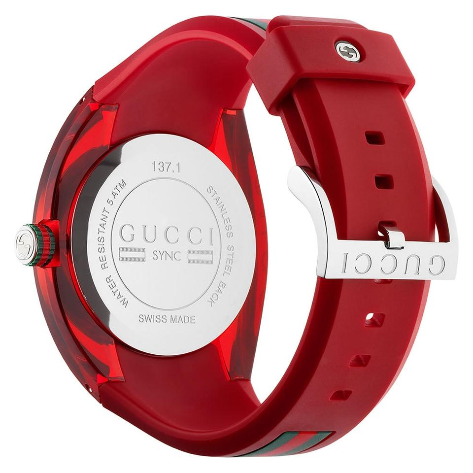 1f74a6ee688 Gucci New Gucci Red Ya137103 Sync Xxl Rubber Black Dial Watch Image 3. 1234