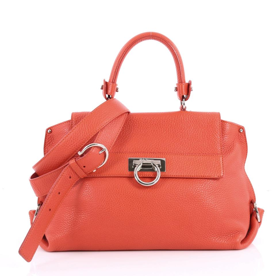 b84ccb7bb716 Salvatore Ferragamo Sofia Pebbled Medium Red Leather Satchel - Tradesy