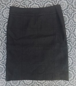 Tory Burch Lined Square Pattern Pencil Wool Skirt Black