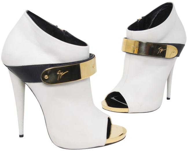 Item - White Women's Open Toe Gold-tone Velcro Strap Ankle Boots/Booties Size US 6.5 Regular (M, B)