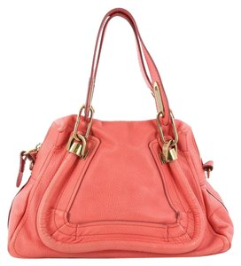 Chloé Leather Satchel in Coral