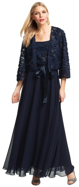 Item - Blue Embellished Gown and Jacket Long Formal Dress Size 14 (L)