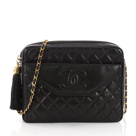 Camera Vintage Front Pocket Quilted Lambskin Medium Black Leather Cross Body Bag by Chanel