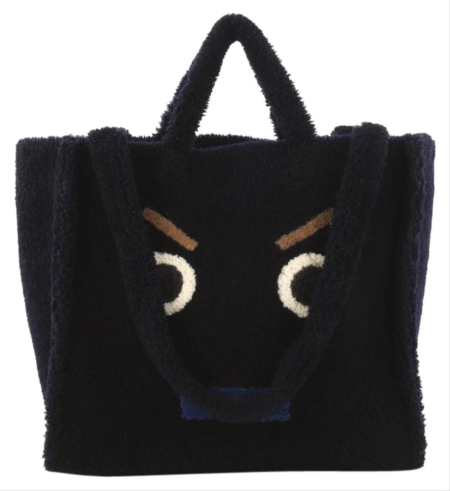 31a9f444b7a0 Fendi Faces Large Navy Blue Shearling Tote - Tradesy