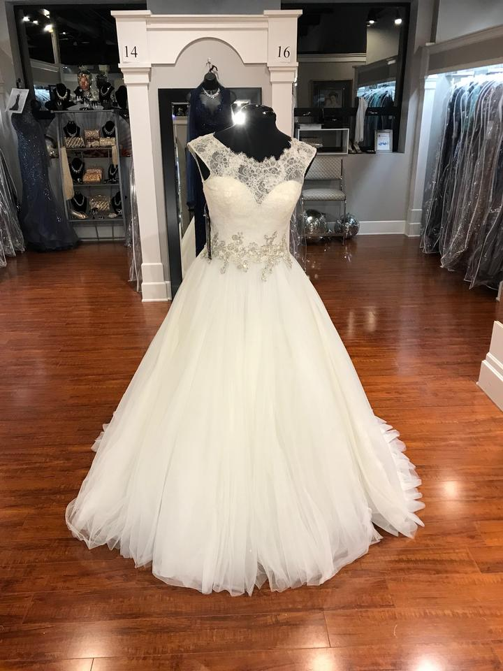 7c8e73611bf13 Allure Bridals Ivory Silver Alencon Lace 9022 Feminine Wedding Dress ...