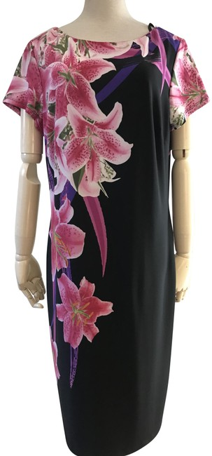 Item - Black Lily Pattern Printed Mid-length Short Casual Dress Size 14 (L)
