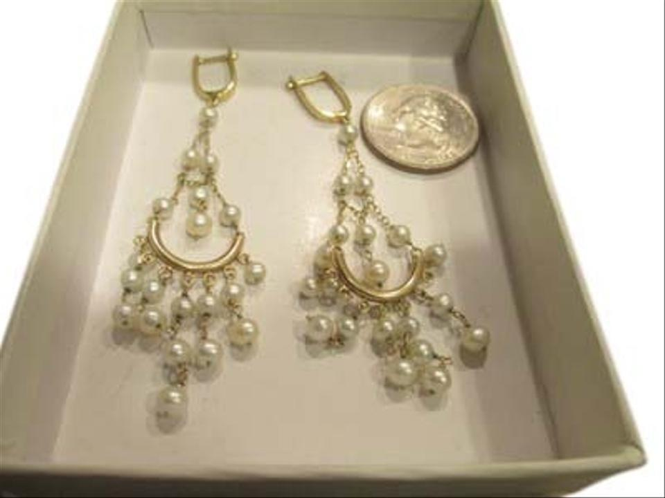 Other 14k Yellow Gold Pearl Chandelier Earrings