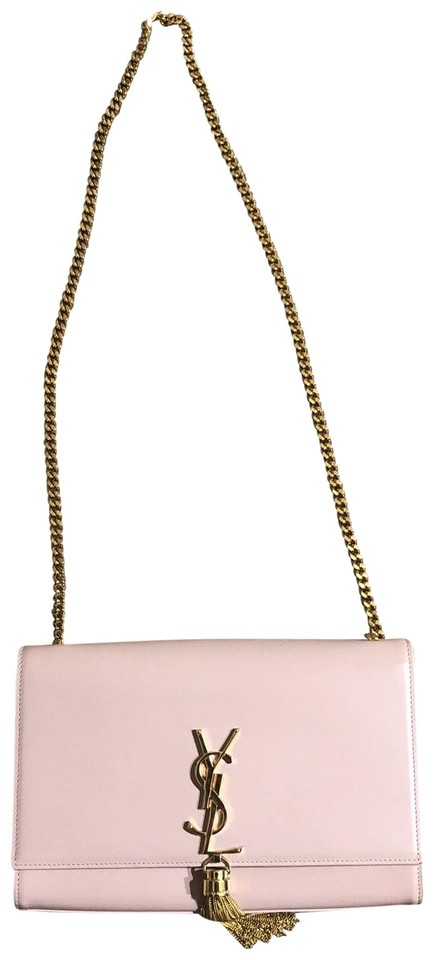 e0015eca6888 Saint Laurent Classic Monogram with Interlocking Metal Ysl Signature and Metal  Chain Tassel Baby Pink Leather Shoulder Bag