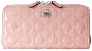 Coach Pink Tulle Peyton Op Art Embossed Patent Leather Zip Around Accordion