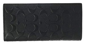 Coach COACH MENS BREAST POCKET WALLET IN SIGNATURE CROSSGRAIN LEATHER BLACK