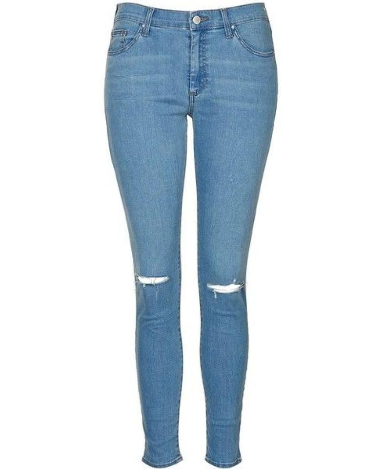 buy limited sale buy cheap Topshop Blue Distressed Moto Light Bleach Stretchy Ripped Knee Leigh Skinny  Jeans Size 28 (4, S)