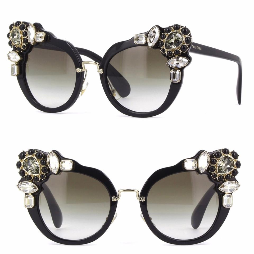 3baa8d787f6 Miu Miu Black Cat Eye Crystals Embelished Sunglasses - Tradesy
