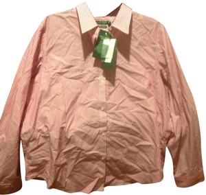 Lauren Ralph Lauren Long Sleeve New With Tags Button Down Shirt Red and white stripe