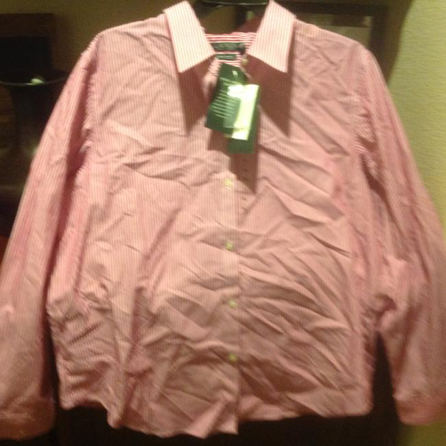 Lauren Ralph Lauren Long Sleeve New With Tags Button Down Shirt Red and white stripe Image 3