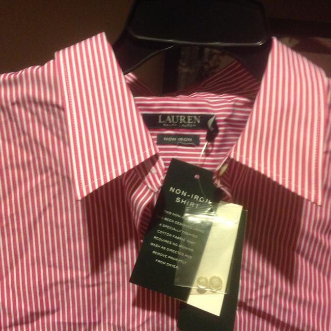 Lauren Ralph Lauren Long Sleeve New With Tags Button Down Shirt Red and white stripe Image 6