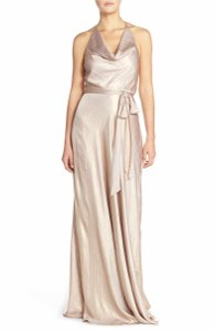 Amsale Rose Gold Liquid Metal Chiffon Nouvelle Liane - N349 Casual Bridesmaid/Mob Dress Size 12 (L)